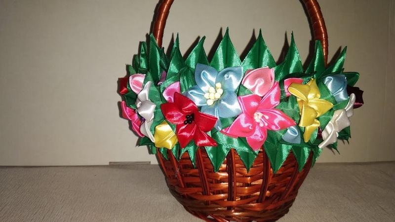 Декор великоднього кошика Прикраса на кошик канзаши МК Украшение на пасхальную корзину своими руками