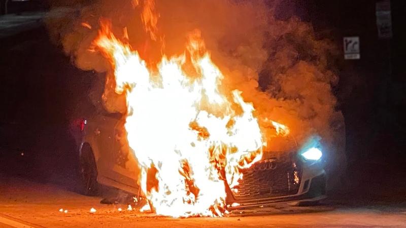 Горячий заезд 1100 сильная Audi RS3 в огне и без тормозов