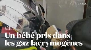 Un bébé se retrouve pris dans les gaz lacrymogènes en marge de la manifestation des pompiers à P