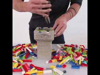 Making tiny concrete castles with lego structures