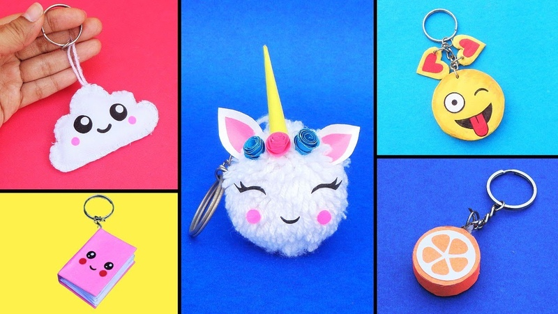 5 DIY Cute Easy Keychains How to make Keyrings at home Best out of waste