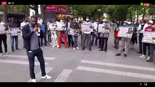 Manifestation des Sénégalais de France à la Place de la Bastille