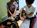 Body hot stone drainage massage
