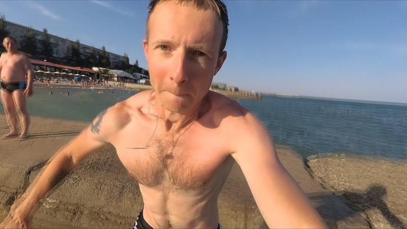 Приморский пляж море и аквабокс Крым
