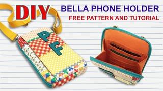 DIY - How to sew Belle Phone Holder  - Tutorial Cara Membuat Tas Selempang Mini / Sling Bag untuk HP