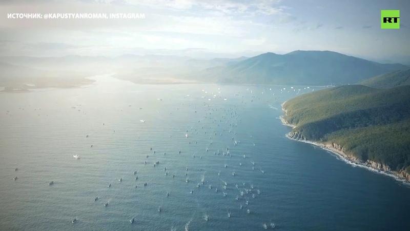 Сотни иностранных кораблей покидают бухту Ольга в Приморье видео с беспилотника