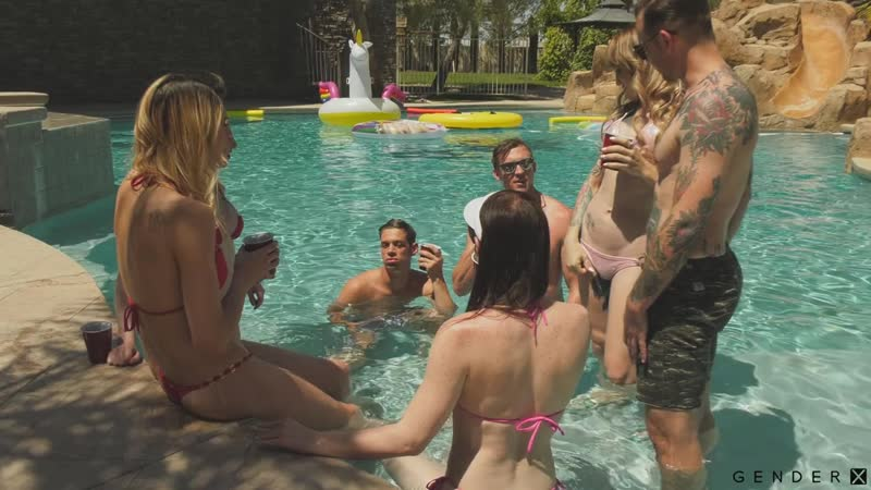 Trans Pool Party ( Natalie Mars, Lena Kelly, Casey K, Janelle Fennec) 2018 г. , Transsexuals, Shemale,