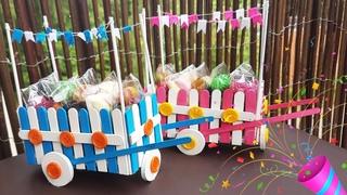 Easy Craft for Kids to Make: Party Sweet Box From Sticks | Тележка Для Сладостей Своими Руками