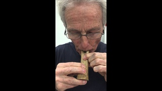 Jelle Atema playing Neanderthal flute replica made with 50-100,000 year old cave bear fossil at AMNH