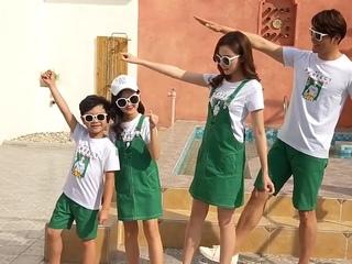 Модная одежда для пар летняя белая футболка папы и сына + зеленые шорты комплект мама дочка платье
