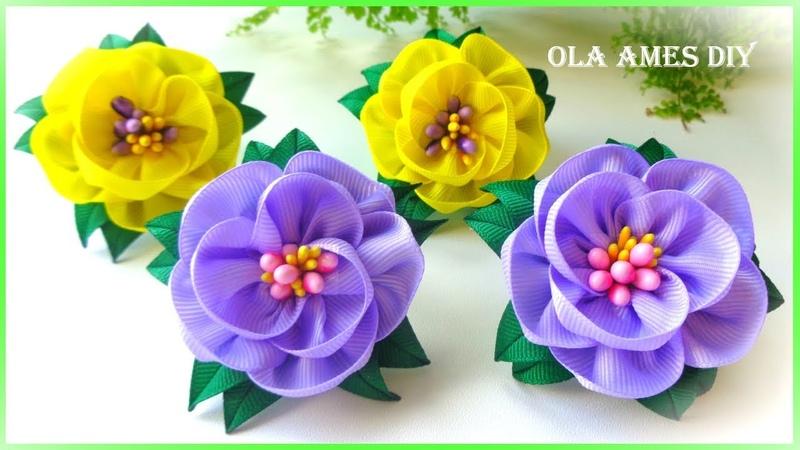 Канзаши Простые цветы из лент Ribbon Flowers DIY Kanzashi Flor de fita fácil Ola ameS DIY