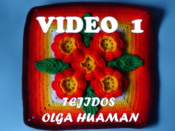 Tejidos a crochet paso a paso muestra 5 flores para colchas video 1