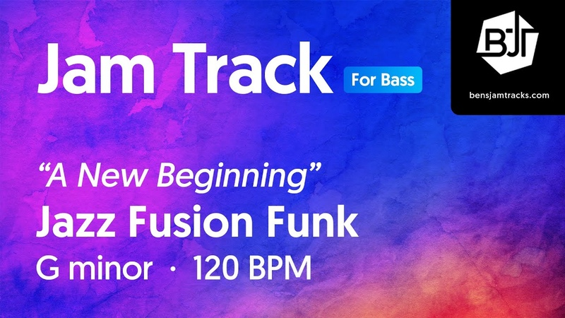 Jazz Fusion Funk Jam Track in G minor for bass BJT 61