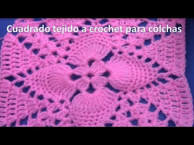 Cuadrado o cuadro a crochet en punto piñitas paso a paso para colchas y cojines