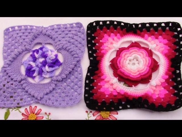 Cuadrado a crochet para aplicar con distintas flores para colchas, cubrecamas y cojines