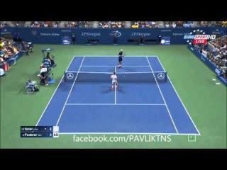 Roger Federer vs John Isner AMAZING POINT US OPEN 2015