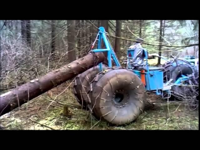 Мотоблок МТЗ-05 - трелёвочник. Трелюем лес. Walking tractor MTZ-05. Trellevochnik.
