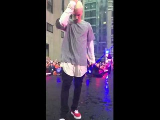 Justin Bieber with platinum blond hair for the Today show at plaza in New York - September 10, 2015