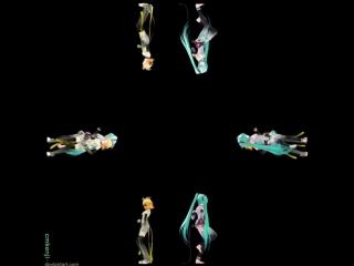 Kiss me 愛してる (miku and rin tda) (видео для голографической 3d пирамиды) [3d hologram techonology video for holographic pyramid]