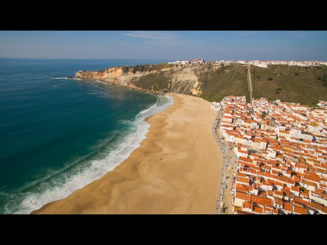 Nazaré Sitio da Nazaré Praia do Norte aerial view 4K Ultra HD