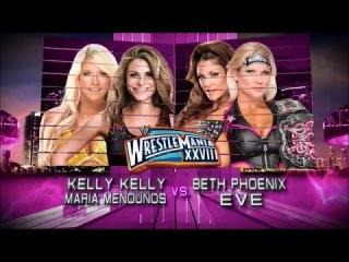 Kelly Kelly & Maria Menounos vs. Beth Phoenix & Eve Torres: WWE WrestleMania XXVIII