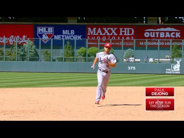 DeJong belts a homer in his first MLB at bat