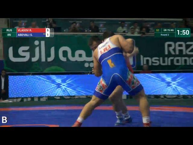 75 кг - Роман ВЛАСОВ (RUS) df. Саид Морад АБДВАЛИ (ИРИ),Greco-Roman World Cup