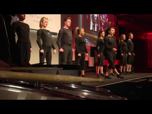Slide Step Irish Dancers With LED Drummers