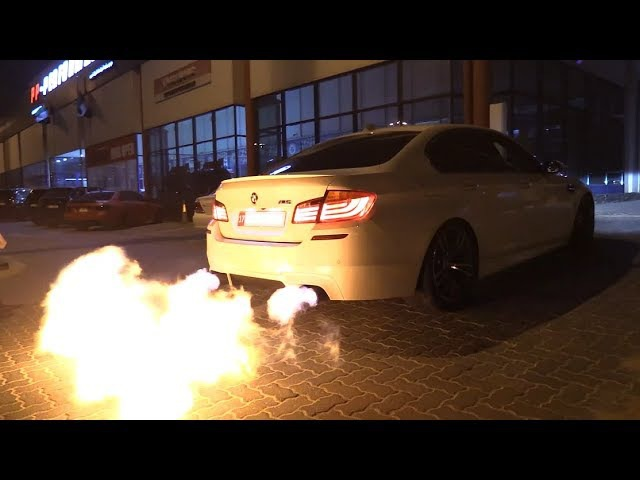 BMW M5 F10 w Akrapovic PP Performance The BIGGEST M5 Flames EVER