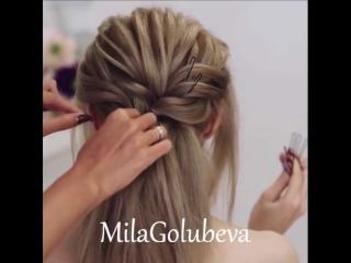 Стильная прическа на длинные волосы