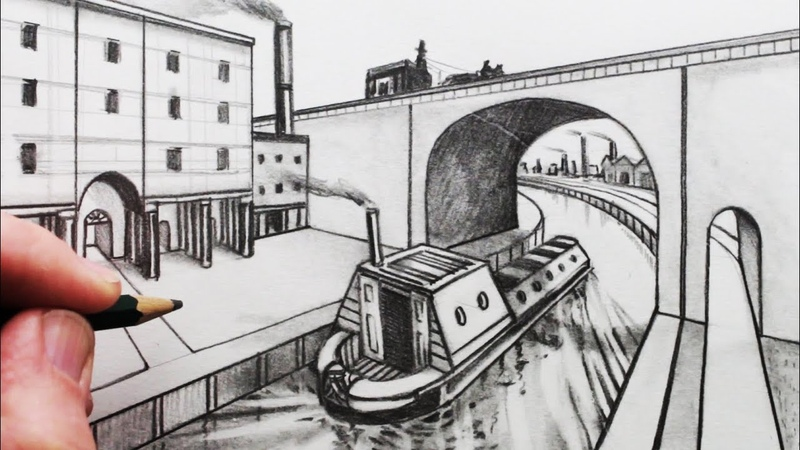 How to Draw a Bridge and Narrow Boat in Perspective