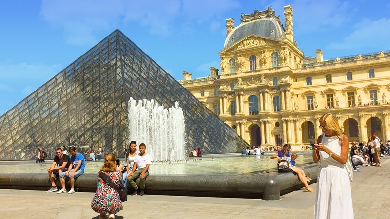 PARIS WALK The Louvre incl. Pyramid and Palace Courtyards France
