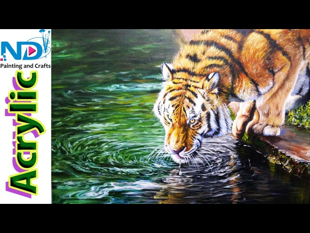 Acrylic Painting Tutorials Tiger with Reflected Water by Nihar Debnath