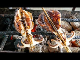 Cambodian Street Food - GIANT GRILLED SQUID and MEAT MARATHON in Phnom Penh, Cambodia!