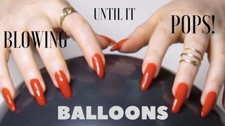 ASMR🎈Balloon Blowing Scratching & Tapping w/ Red Long Nails 🎈Blowing up balloon until it pops