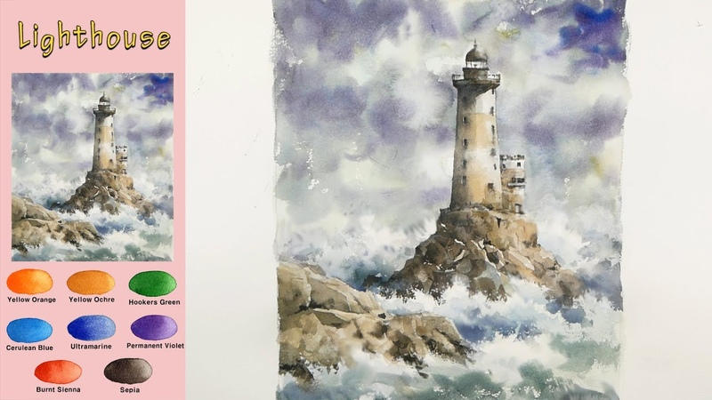 Without Sketch Landscape Watercolor - Lighthouse (wet-in-wet, Arches rough)NAMIL ART