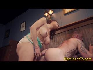 Busty transgender sucks guys cock the bar