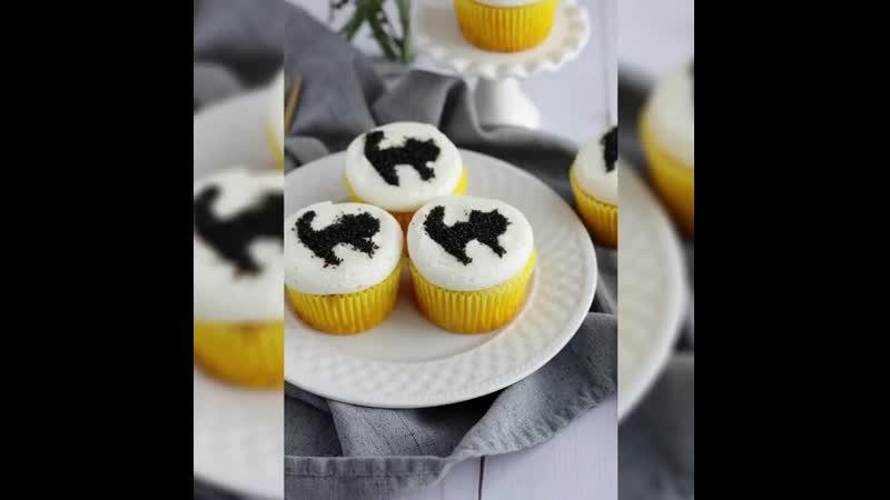 Как украсить капкейки чёрными котами. / Наша группа в ВК: Торты на заказ. Мировые шедевры.