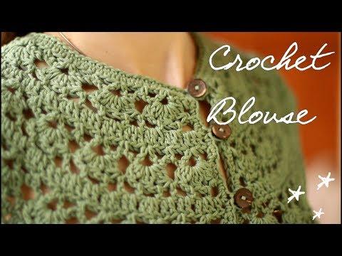 Блуза с круглой кокеткой крючком blouse with a round yoke crochet