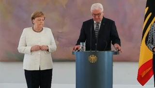 Вести.Ru: Меркель вновь начало трясти на встрече с президентом
