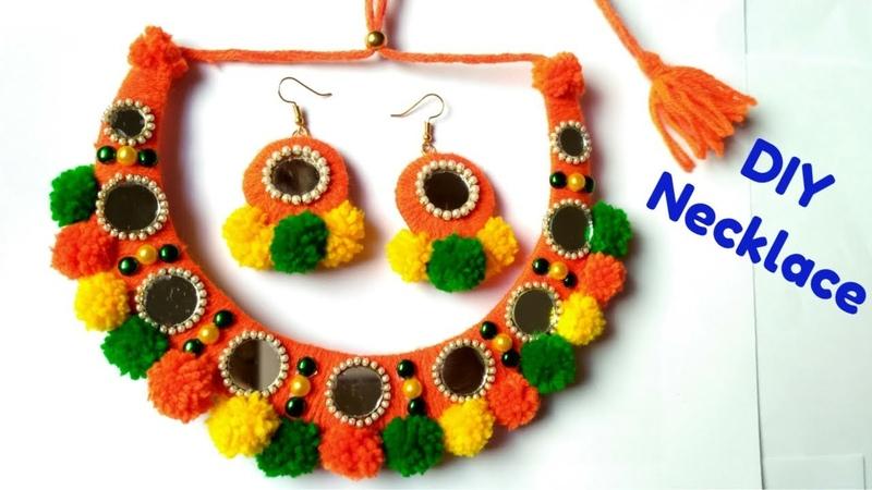 DIY pom pom Necklace Navratri Special Ornaments Jewellery Handmade Best out of waste