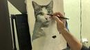 Портрет двух кошек масляными красками на холсте