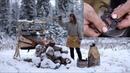 Viking making leather belt blacksmithing