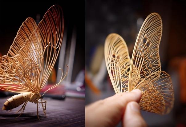 Реалистичные насекомые из бамбука от японского мастера по дереву Могут ли насекомые быть красивыми В нашем случае совершенно точно могут.Этих бамбуковых насекомых сложно отличить от настоящих.