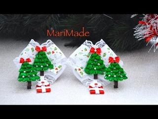 Канзаши Новый Год Елочки Заколки Резинки Kanzashi Christmas Trees Bows