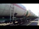 Электровоз ВЛ-80 с грузовым составом дождался проходного сигнала светофора