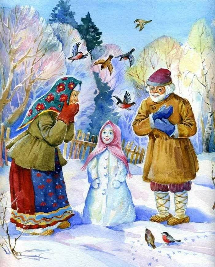 Сказка девочка-снегурочка в картинках