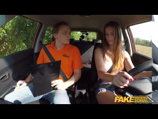 Fake Driving School Beautiful brunette Jenifer Jane bangs her instructor