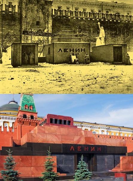 Наверняка те, чьё детство пришлось еще на времена СССР помнят чтение о строительстве временного деревянного мавзолея в 30-градусный мороз для похорон Ильича На фото 1924-го года можно взглянуть