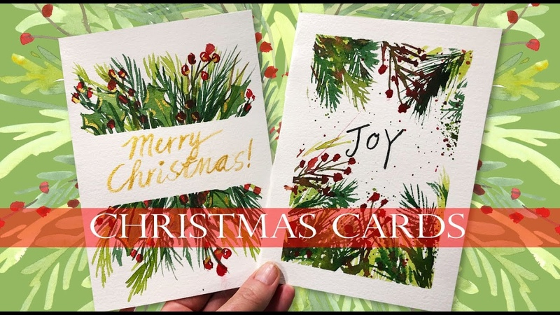 Watercolor Christmas Cards Tutorial For Beginners Real Time Demo Loose greens watercolor